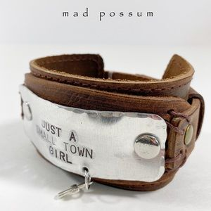 Just a Small Town Girl Cross Leather Cuff